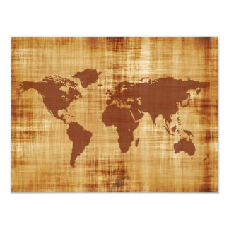 Grungy Weltkarte gemasert Photographischer Druck
