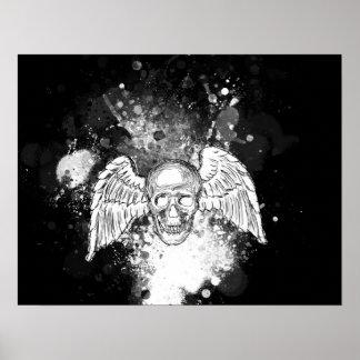Grungy Winged Schädel-(schwarzes) Plakat