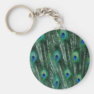 grünliche Pfaus, die Federn öffnen Schlüsselanhänger