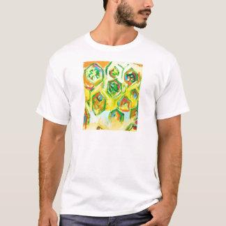 Grünliche rohe Hexagone (geometrischer T-Shirt