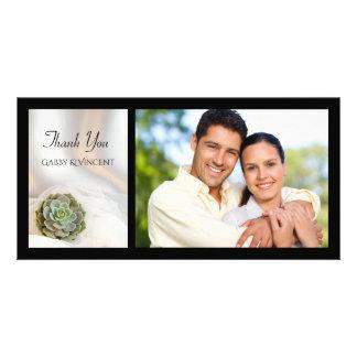 GrünSucculent auf weißer Hochzeit danken Ihnen Karte