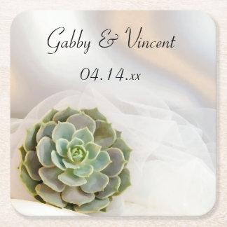 GrünSucculent auf weißer Hochzeit Rechteckiger Pappuntersetzer