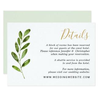 GrünWatercolor verlässt Hochzeits-Einzelkarte Karte