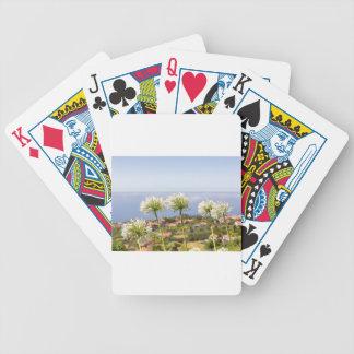 Gruppe des weißen Agapanthus nahe Dorf und Meer Bicycle Spielkarten