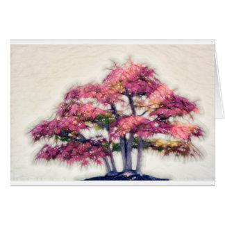 Gruppe Painterly Bonsais-Ahornbäume Grußkarte