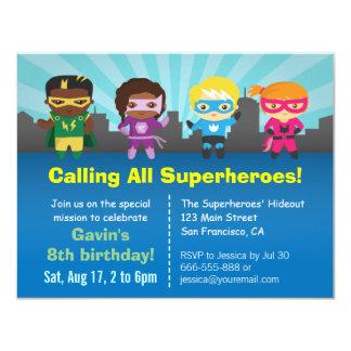 Gruppe Superhero-Kindergeburtstag-Party 10,8 X 14 Cm Einladungskarte