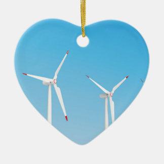 Gruppe Windkraftanlagen Keramik Herz-Ornament