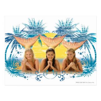Gruppen-blaue Palme-Grafik Postkarte