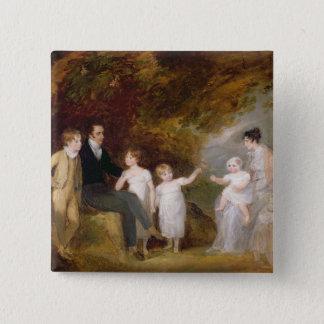 Gruppen-Porträt in einer bewaldeten Landschaft Quadratischer Button 5,1 Cm