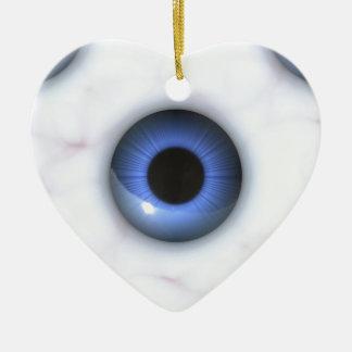 gruselige blaue Augen Keramik Ornament