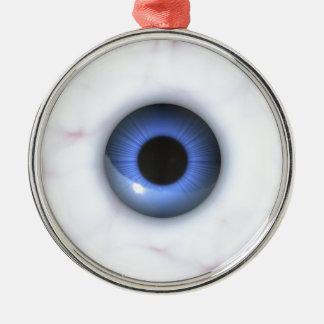 gruselige blaue Augen Silbernes Ornament