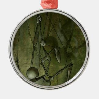 Gruselige Marionetten-Malerei, kletternd Rundes Silberfarbenes Ornament