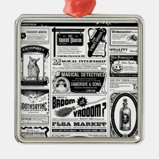 gruselige Zeitung Silbernes Ornament