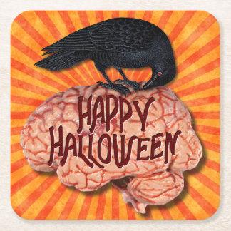 Gruseliger Rabe Halloweens auf Gehirn Rechteckiger Pappuntersetzer