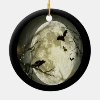 Gruseliger Vollmond mit Vögeln Keramik Ornament