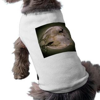 Gruseliger Vollmond mit Vögeln T-Shirt