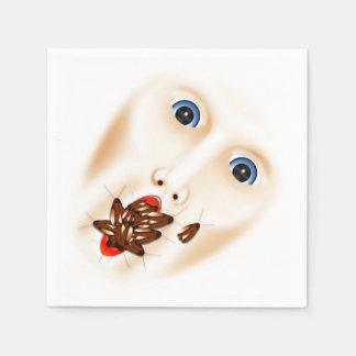 Gruseliges Gesicht mit Hinterwelle-Mund grobes Papierserviette