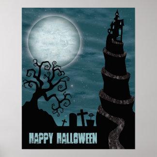 Gruseliges Halloween-Szenen-Plakat Poster