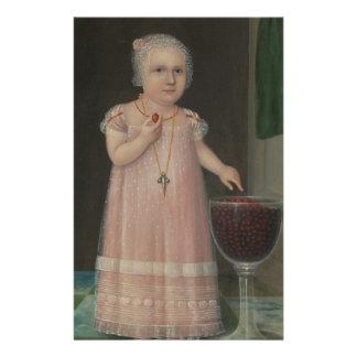 Gruseliges kleines Mädchen isst Süßigkeit Briefpapier