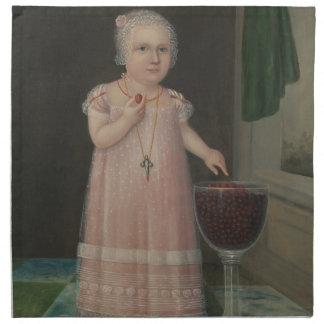 Gruseliges kleines Mädchen isst Süßigkeit Serviette