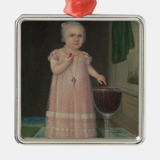 Gruseliges kleines Mädchen isst Süßigkeit Silbernes Ornament