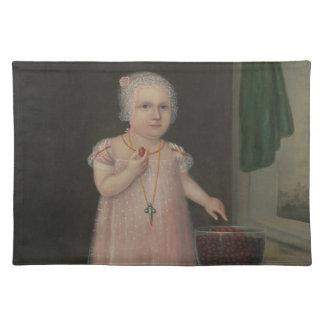 Gruseliges kleines Mädchen isst Süßigkeit Tischset