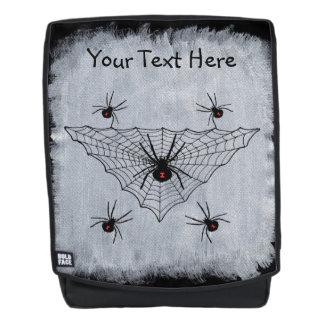 Gruseliges Netz Spinnen der schwarzen Witwe auf Rucksack