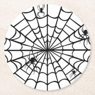 Gruseliges Spinnen-Netz Runder Pappuntersetzer