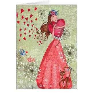 Gruß-Karte der Valentine-Mädchen-Liebe-Herz-| Karte
