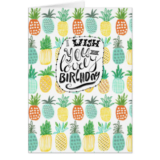 Gruß-Karte des Tropen-Geburtstags-Ananas-Muster-| Grußkarte