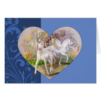 Gruß-Karte - Pegasus-Einhorn-Herz Karte