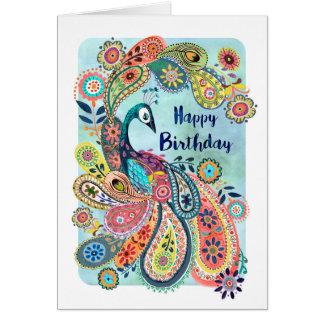 Gruß-Karte Pfau-alles- Gute zum Geburtstag| Grußkarte