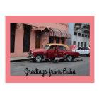 Grüße Auto-Rosa-Gebäude Kubas vom roten Postkarte