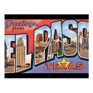 Grüße El Paso Texas_Vintage vom Reise-Plakat Postkarte