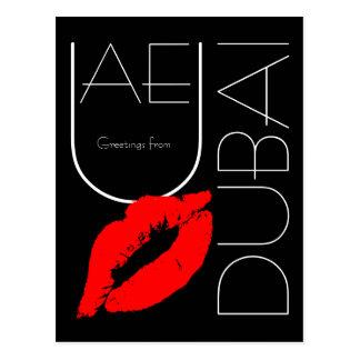 Grüße Lippenstift-Kuss-Schwarzen Dubais vom roten Postkarte