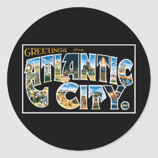 Grüße von Atlantic City! Runder Aufkleber