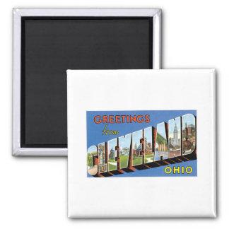 Grüße von Cleveland, Ohio Quadratischer Magnet