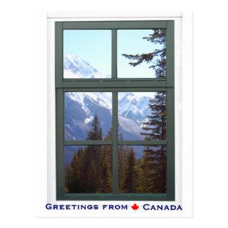 Grüße von der Fenster-Ansicht Kanadas Rocky Postkarte