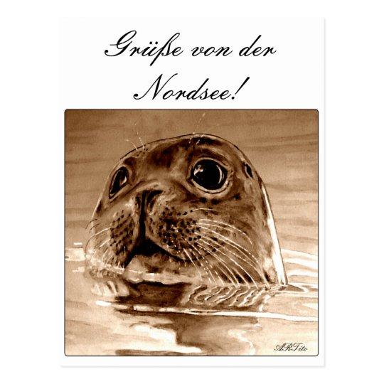 Grüße von der Nordsee! Postkarte