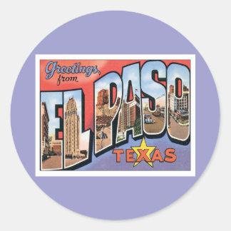 Grüße von El Paso, Texas Runder Aufkleber