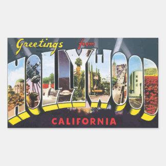 Grüße von Hollywood Kalifornien, Vintag Rechteckiger Aufkleber