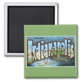 Grüße von Indianapolis Indiana! Vintag Quadratischer Magnet