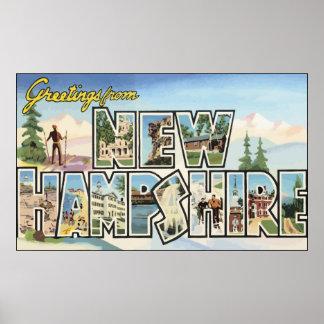 Grüße von New Hampshire, Vintag Poster