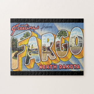 Grüße von NordDakota_Vintage Reise Fargo Puzzle