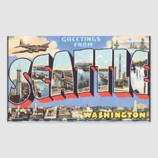 Grüße von Seattle Washington, Vintag Rechteckiger Aufkleber