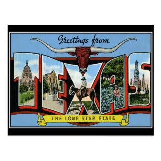 Grüße von Vintager Postkarte Texas