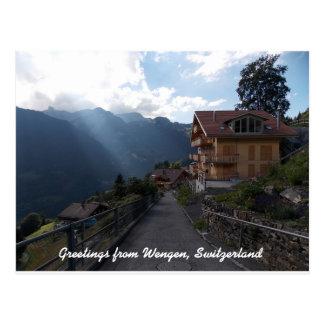 Grüße von Wengen die Schweiz 1 Postkarte
