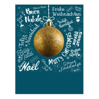 Grußkarte der frohen Weihnachten von der Welt im Postkarte