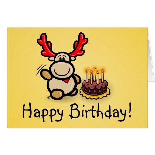 "Grußkarte ""Happy Birthday!"" mit Elch Elmondo"