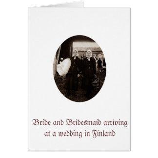 Grußkarte mit Braut und ihrer Brautjungfer